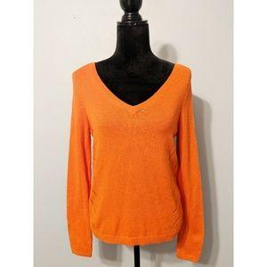 Moth Orange Double V-Neck Pullover Sweater